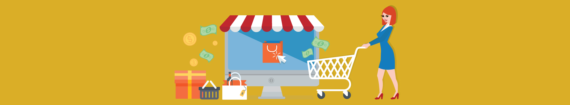 Graphic design of lady with shopping cart in front of store with money falling