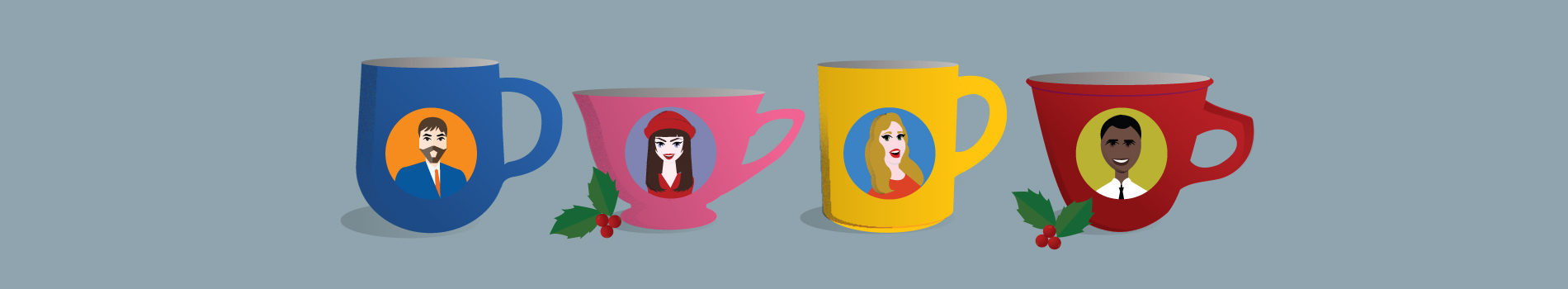 Personalized coffee mugs with the customers headshot on them