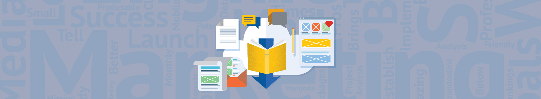 Graphic design image of various words formats of information like blogs, PDF's and newsletters