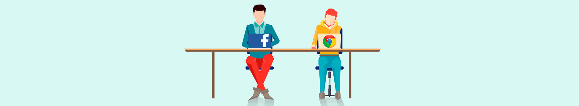Two people sitting at desk with one Google Laptop and one with a Facebook laptop graphic design image