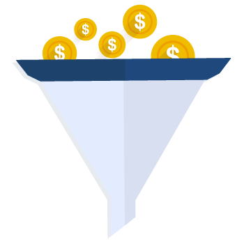 Sales Funnel graphic image with coins falling into the top