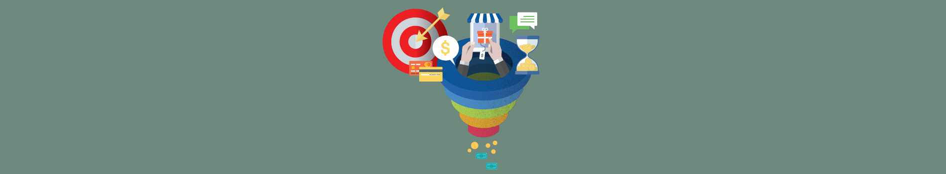 Graphic design of sales funnel with different kinds of payments being made at top