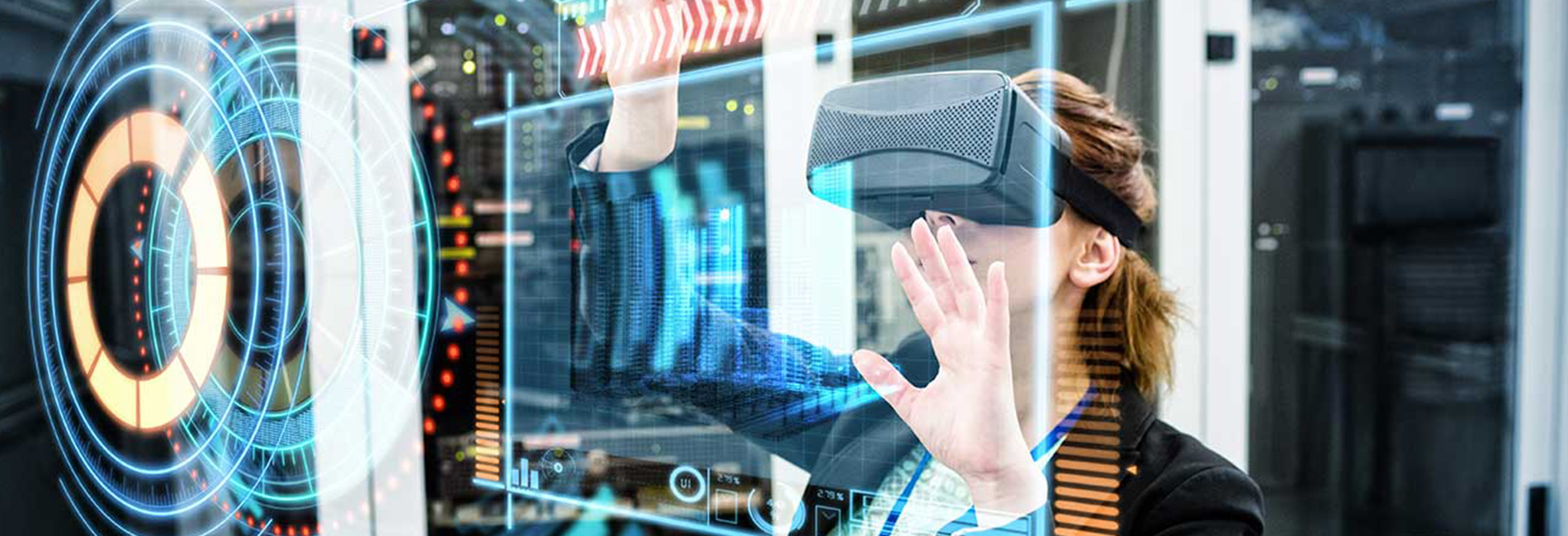 Woman using Virtual Reality in the work place for analysis