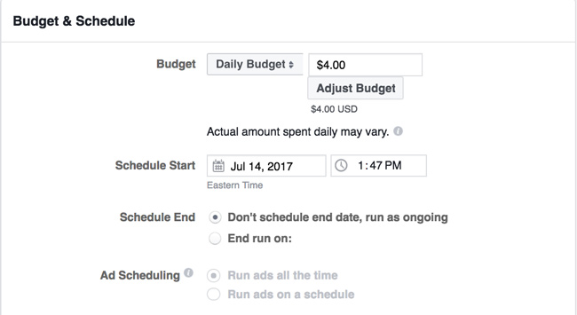 How to set your Facebook ad budget