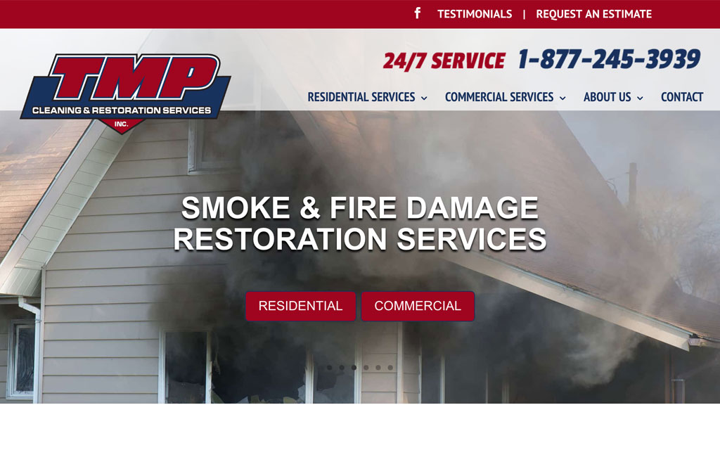 Screenshot of TMP Cleaning & Restoration Services homepage.