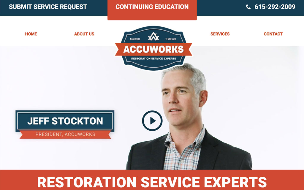 Screenshot of Accuworks homepage.