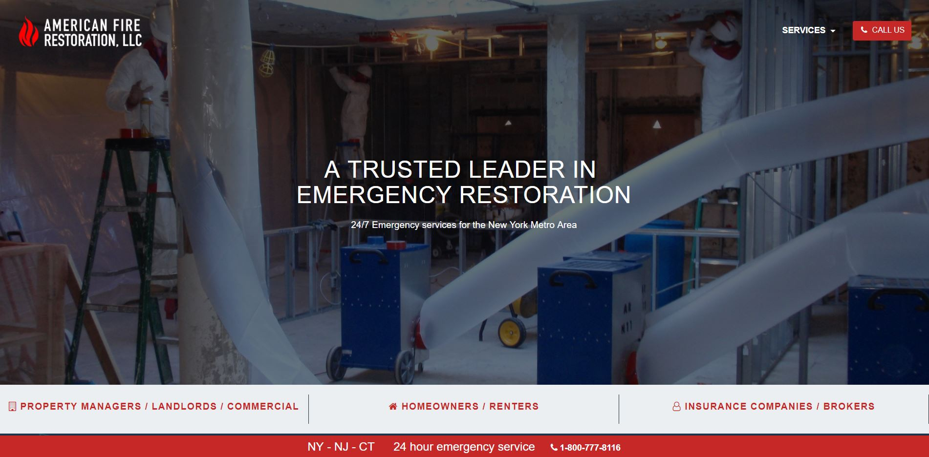 Screenshot of the American Fire Restoration homepage.