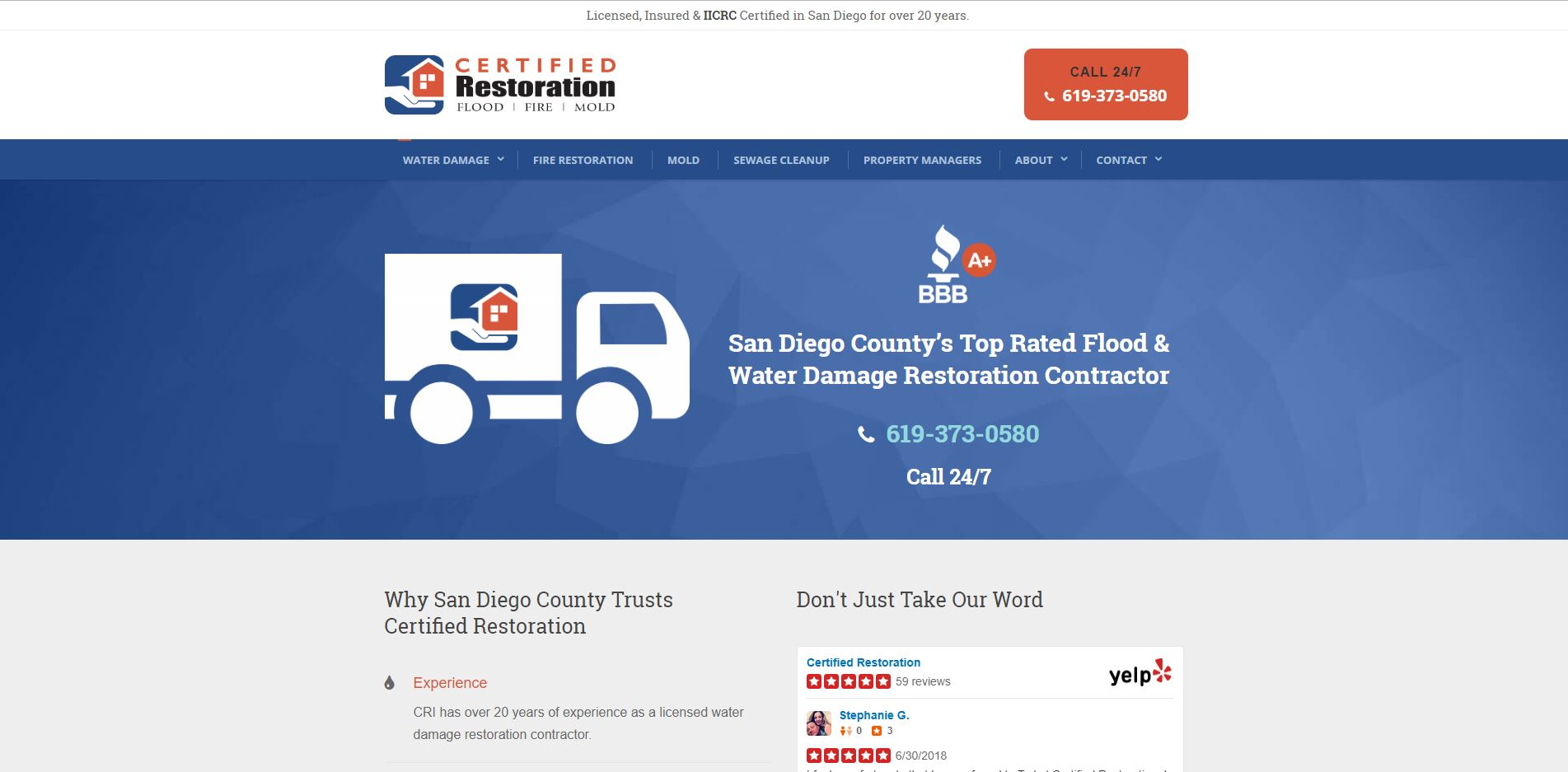 Screenshot of Certified Restoration Inc. homepage.