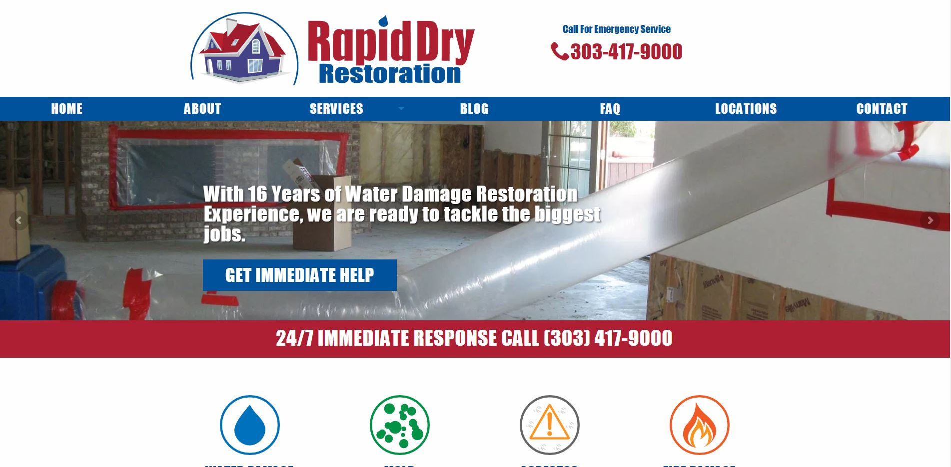 Screenshot of the Rapid Dry Restoration homepage.