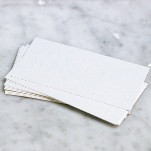 Blank business cards on a table