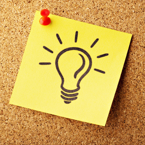 Sticky note depicting a bright idea